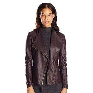 VIA SPIGA Women's Leather Asymmetric Moto Jacket M